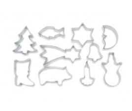 Wykrojniki do gliny Boże Narodzenie, 10 sztuk - 717