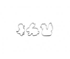 Wykrojniki do gliny: Zając, kaczuszka, kokoszka, 3 sztuki - 736